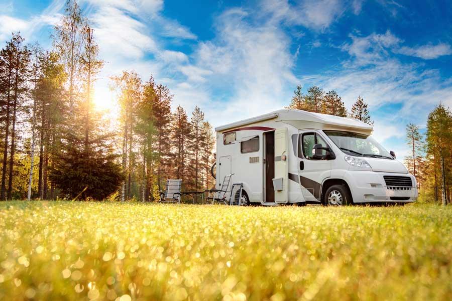 Motorhome parked in field